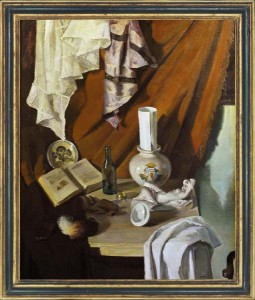 ANON, SPANISH SCHOOL  Still life with armorial jar, statuette and book, 1942