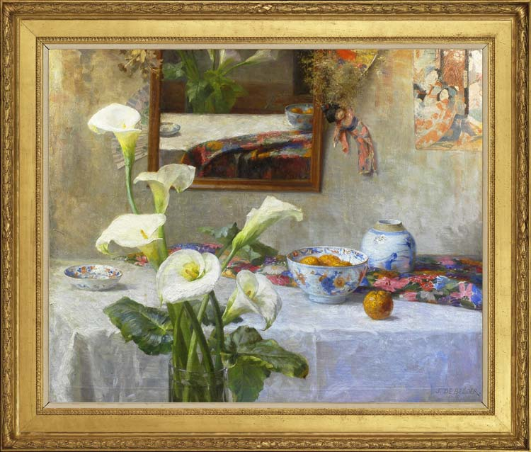 JOSEPH DE BELDER (1871-1927)  Still life with arum lilies