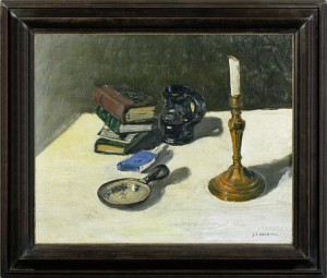 J. LEBRETON  Still life with books, ashtray and a candlestick