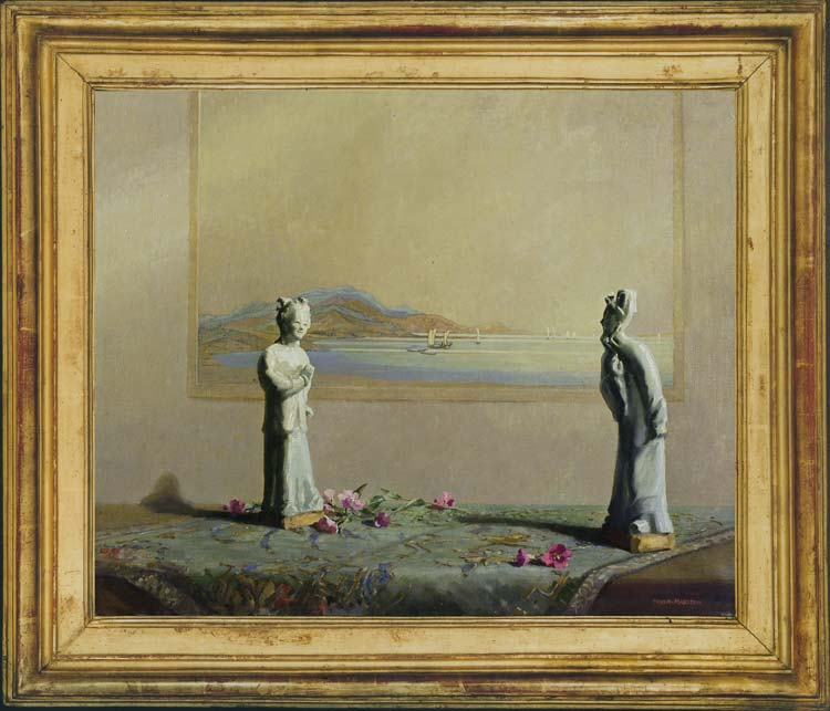 FREDA MARSTON Oriental figurines before a seascape
