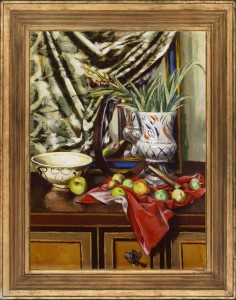 QUENTIN BELL Still life with apples, a sickle, a red cloth & a vase