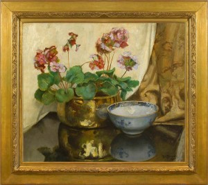 ROBERT BOUDRY Still life with geraniums and a Chinese bowl
