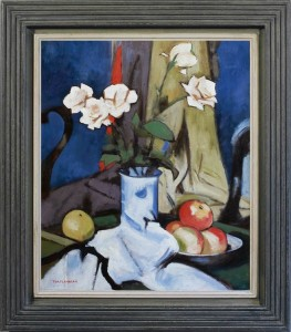 TOM FLANAGAN - Still life with roses and fruit