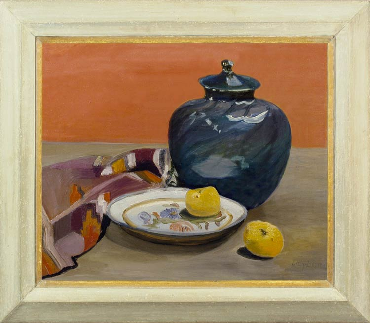 LILY GOVAERT - Still life with a blue glass jar and fruit