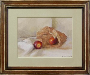 GEORGE WEISSBORT Still life with two red apples and a brown paper bag