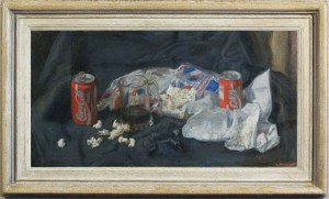 GEORGE WEISSBORT Still life with Coca Cola cans, a glass tankard & popcorn
