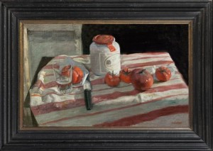GEORGE WEISSBORT Still life with mustard jar, tomatoes, knife and glass on a striped tablecloth